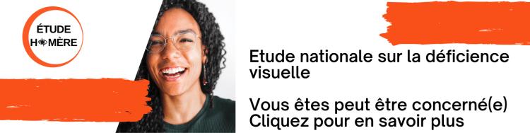 """Bannière Linked In pour l'étude Homère (version avec une jeune femme en photo et la mention """"cliquez pour en savoir plus"""")"""