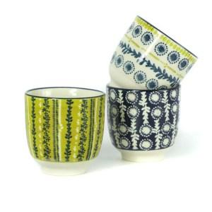 Gobelets céramique bleu jaune blanc