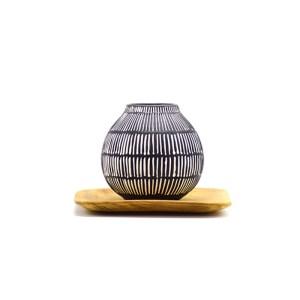 Vase rond céramique noir et blanc Etxe Mia!