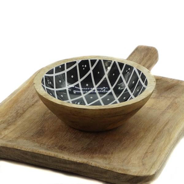 coupelle en manguier et résine noire et blanches Etxe Mia!