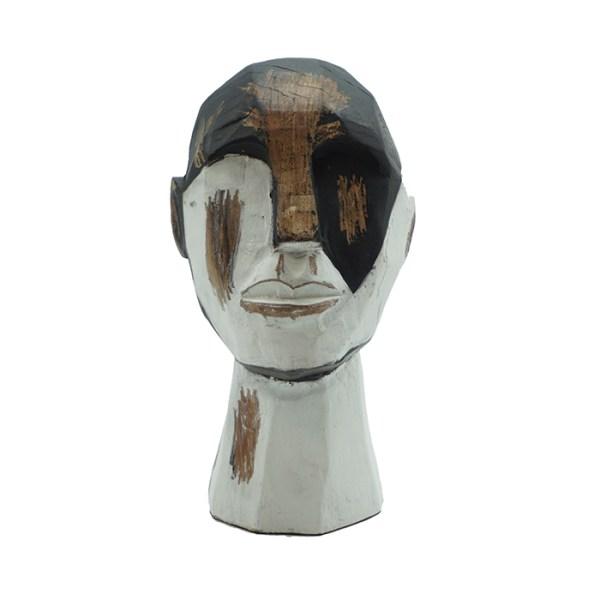 tête en bois de manguier noire et blanche Etxe Mia!