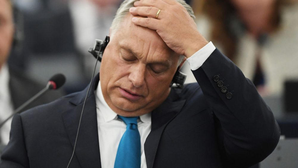 Victor Orban at a plenary session of the European Parliament in which MEPs voted in favour of triggering article 7 of the EU treaties against Hungary for violating European values