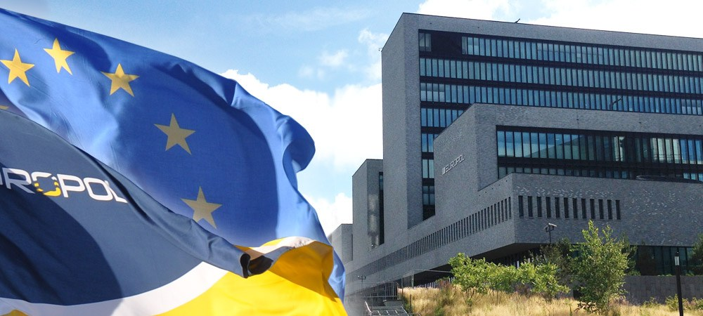 Europol flag and headquarters