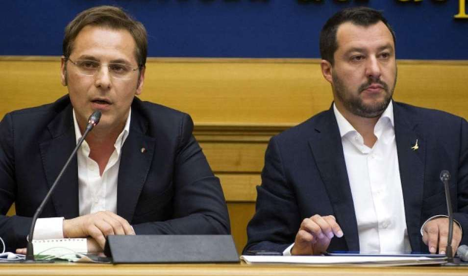 Under Secretary for Transport Armando Siri, who is facing allegations of bribery, seated next to Deputy Prime Minister and Interior Minister Matteo Salvini