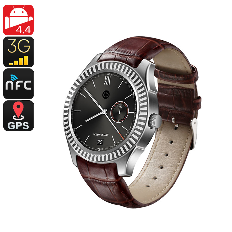 No.1 D7 Bluetooth Watch Phone - Android OS, Heart Rate Monitor, 1 IMEI, 3G, Pedometer, Phone Calls, App, NFC (Silver)