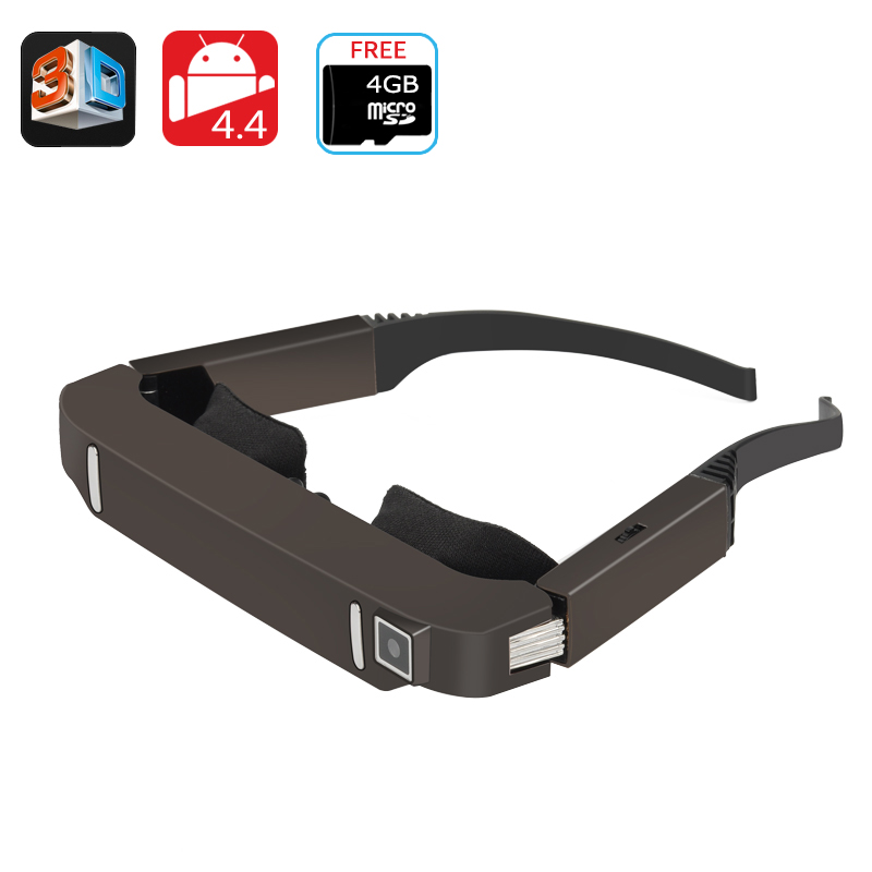 Vision 800 3D Video Glasses - Android 4.4, Side By Side Video, 5MP Camera, 1080p Support, Bluetooth, Wi-Fi