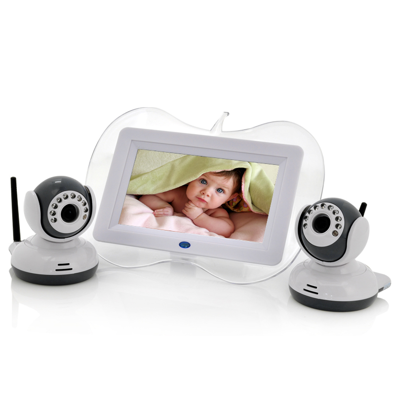 7 Inch Baby Monitor + 2x Night Vision Camera Set - Two Way Intercom, Dual View