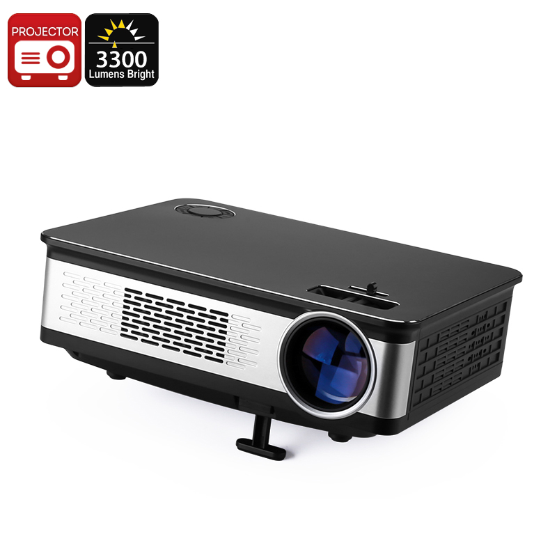 100W LED Projector - 3300 Lumens, Metal Body, HD Support, 1.67 Million Colors, AV, HDMI, VGA, Built-In Speaker