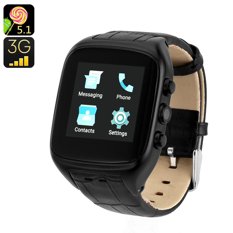 Android 5.1 3G Watch Phone - Android OS, IP65, 1.54 Inch Touch Screen, Dual-Core CPU, IMEI Number, 3G, 3MP Camera (Black)