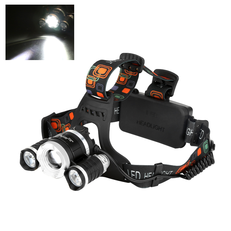 CREE XM-L T6 LED Headlamp - 2400 Lumen, 3 Cree LEDs, 4 Light Modes, Adjustable Head Strap, Zoom Function