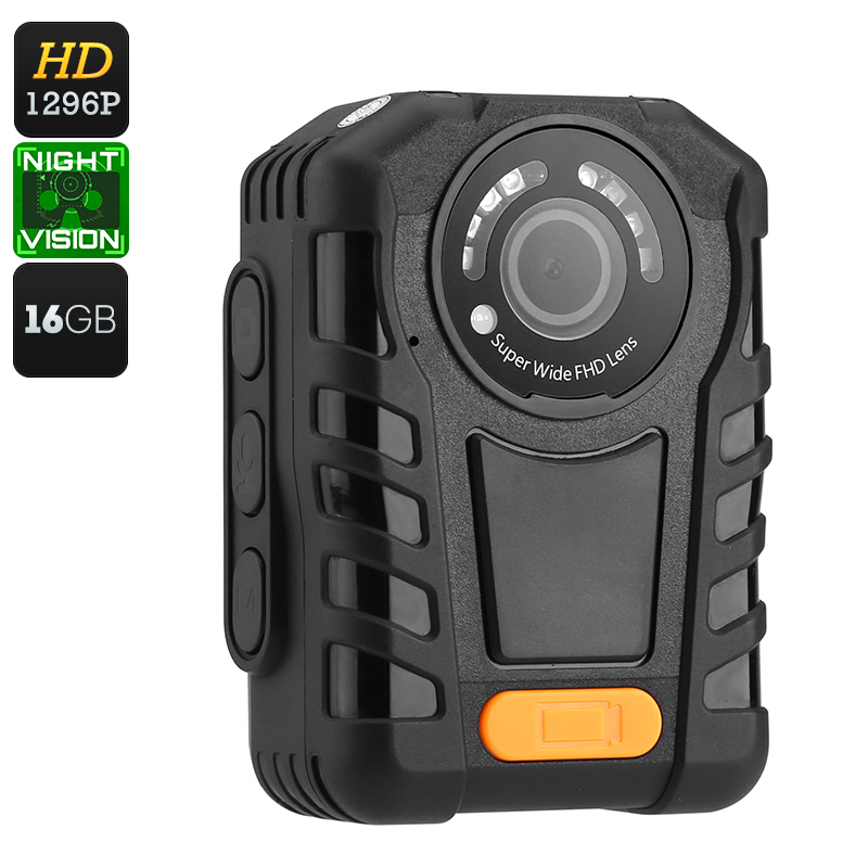 Police Body Worn Camera - Night Vision, 1296p Resolution, 140 Degree Angle Lens, IP65 Waterproof, Time Stamp, 2 Inch Display