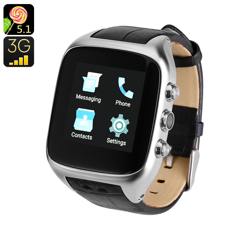 Android 3G Watch Phone - Android 5.1, 1GB RAM, 3G, Wi-Fi, 1.54 Inch Touch Screen, IP65, 3MP Camera (Silver)