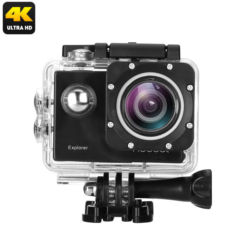 MGCOOL Explorer 4K Action Camera - 170 Degree Lens, 2 Inch Screen, WiFi, 64GB SD Card Slot, App Support, 1050mAh, IP68 Case