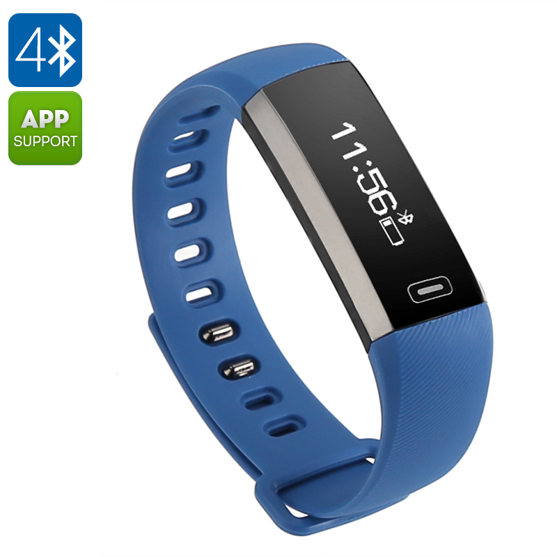 Fitness Tracker Bracelet M2 - Heart Rate Monitor, Pedometer, Bluetooth, iOS + Android APP, Remote camera, Call Reminder (Blue)