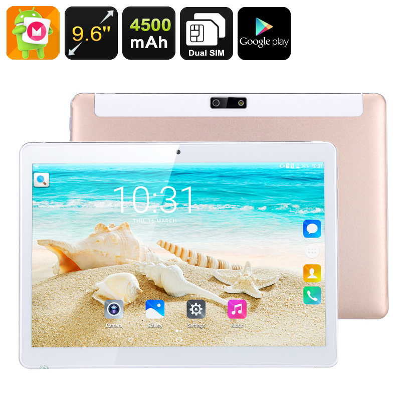 3G Android Tablet Computer - 9.6 Inch IPS Display, Android 6.0, Quad-Core CPU, Dual-IMEI, Google Play, 4500mAh Battery