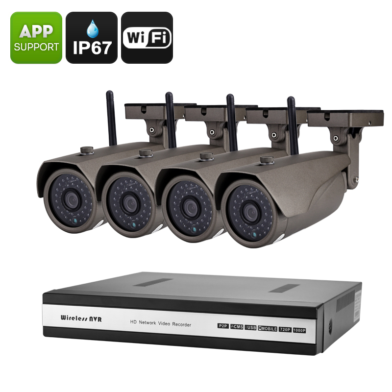 Camnoopy NVR Kit - Four 720P Cameras, 15M Night Vision, IR Cut, 1/4 Inch CMOS Sensor, Remote Access, 90 Degree Viewing Angle