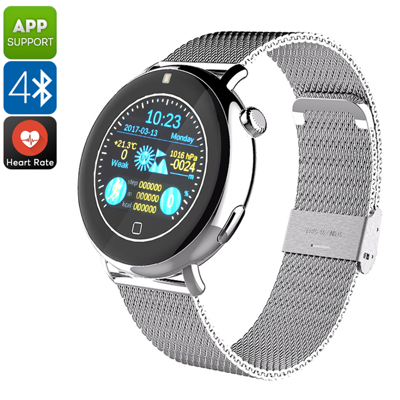 Bluetooth Smart Watch EXE C7 - Pedometer, Sleep Monitor, Touch Screen, Heart Rate, Phone Calls, Messages, Notifications (Silver)
