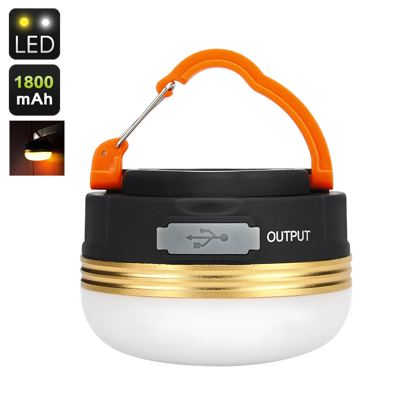 180 Lumen Camping Light - IPx6 Rating, 1800mAh Battery, Phone Charging Function, 3Light Modes, Hanging Clip, Built in Magnet