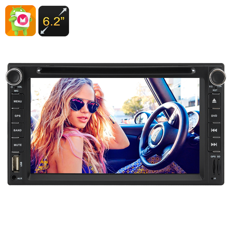 2 DIN 6.2 Inch Touchscreen Car DVD Player - Quad-Core CPU, 1GB RAM, Android 6.0, 3G Support, WIFI Bluetooth FM GPS