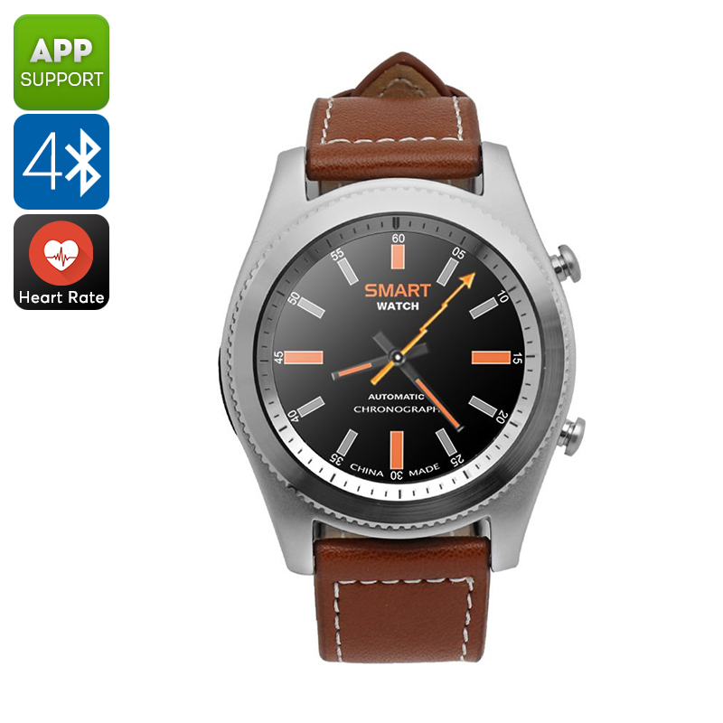 No.1 S9 Bluetooth Watch - Pedometer, Heart Rate, Sedentary Reminder, Bluetooth, Call Answer, 380mAh (Silver)