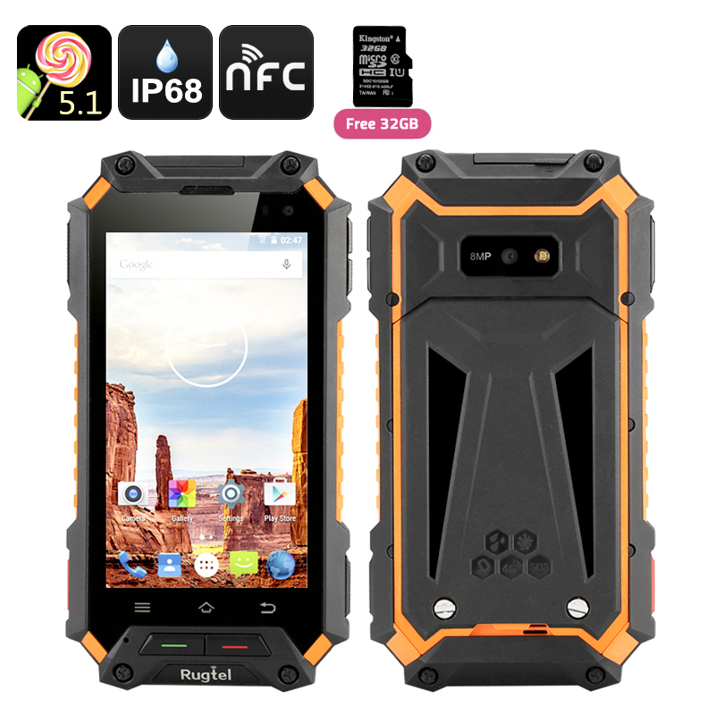 Rugtel X10 Rugged Smartphone - 4.5 Inch IPS Screen, 4G, Android 5.1, IP68, NFC, MTK6735M Quad Core CPU, 2GB RAM + 16GB Memory