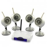 Wireless Home Surveillance Kit with 4x Weatherproof and IR Nightvision Cameras (PAL)