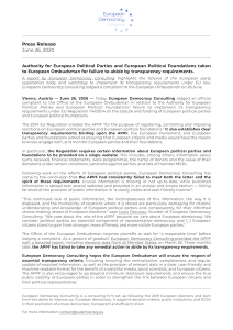 EDC press release on complaint to the European Ombudsman against Authority for European Parties