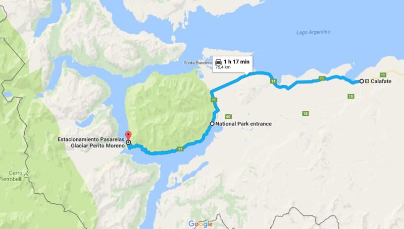 Mapa do Glaciar Perito Moreno em El Calafate - Argentina - Parque Nacional Los Glaciares