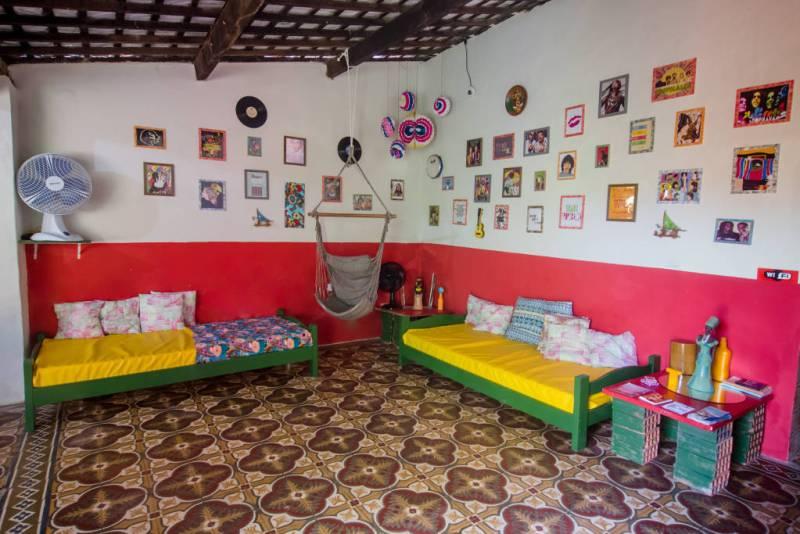 Sala de TV e Lounge Compartilhado no Tropicalista Hostel em Maragogi - Alagoas