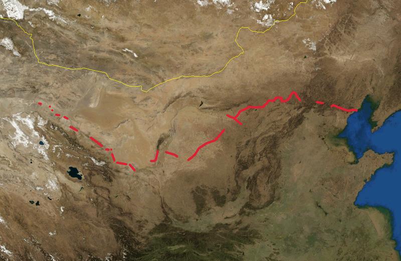 Great Wall of China location map blank - Marele Zid Chinezesc