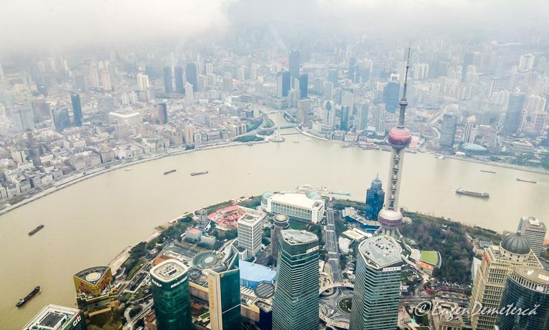 Shanghai de sus -turnul televiziunii siraul Huangpu