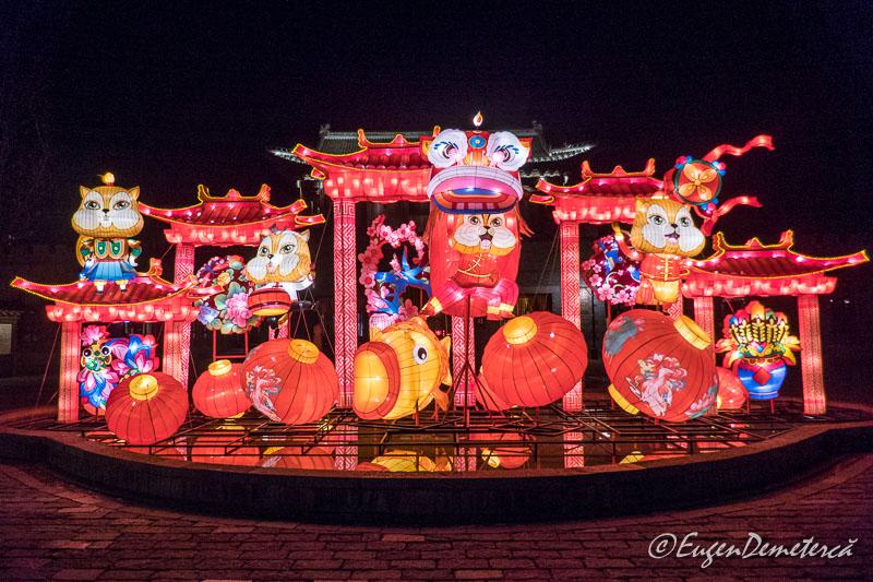 Decoratii de Revelion noaptea in Gubei