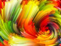 Dynamic Color series. Abstract design made of Colorful fractal clouds and graphic elements on the subject of forces of nature, art, design and creativity