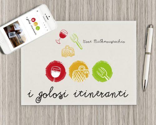 Logo per sito i golosi itineranti e realizzazione grafica di prodotti utili per comunicazione sui social