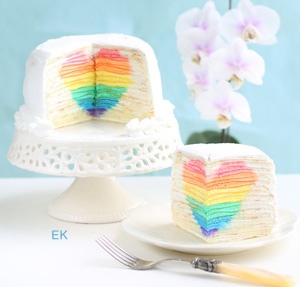 mille crepe cake with hidden rainbow heart - valentine's day