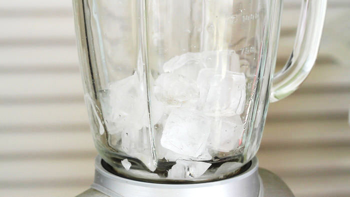 Add in ice cubs in a blender for Mocha Frappuccino