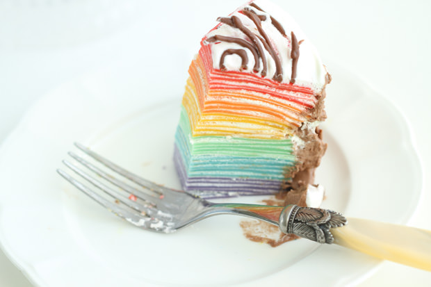 Christmas Rainbow Mille Crepe Cake - Eugenie Kitchen