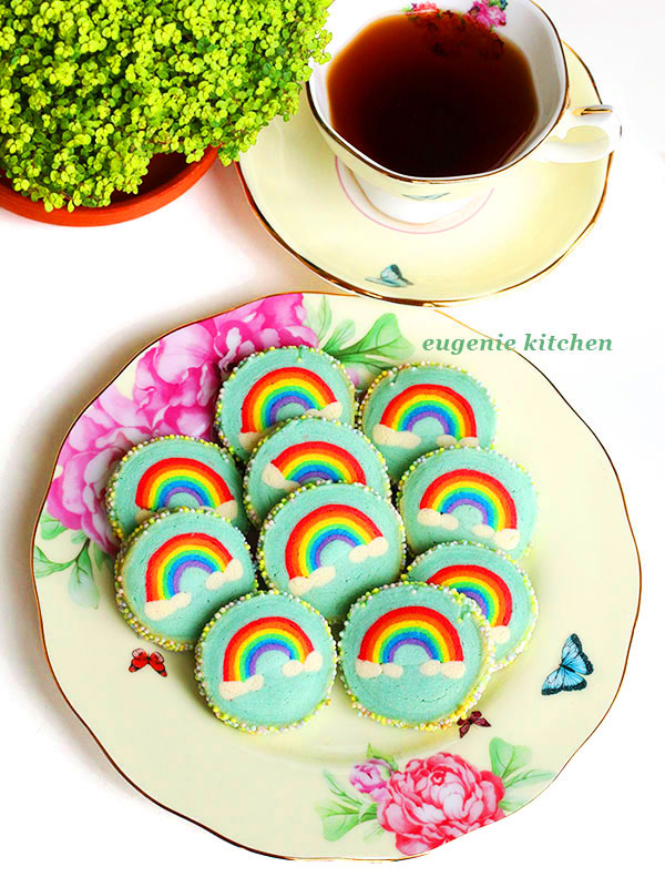 Rainbow with Clouds Cookies Eugenie Kitchen's Slice & Bake Cookies