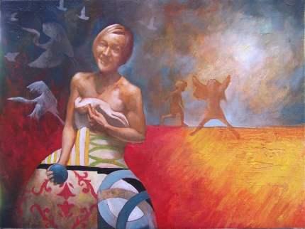 """Weltsmertz - game"" 40x30 cm, oil on canvas, 2011."