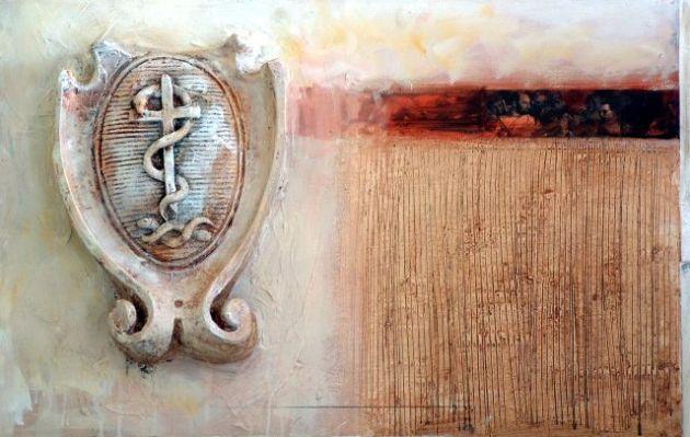 Medicine, 60x60 cm, combined technique on wood, 2002.