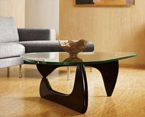 glass top wood base coffee table tea table