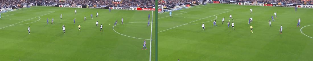- Multiplicando líneas de pase por dentro, el Barça estrechó a la media del Valencia y giró hacia su portero. -