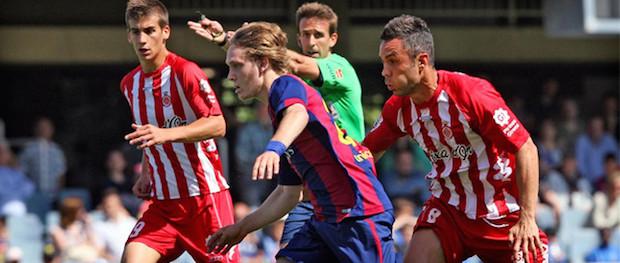 Contra el Girona Halilovic empezó jugando de mediapunta pero terminó como interior pendiente de las internadas del lateral contrario.