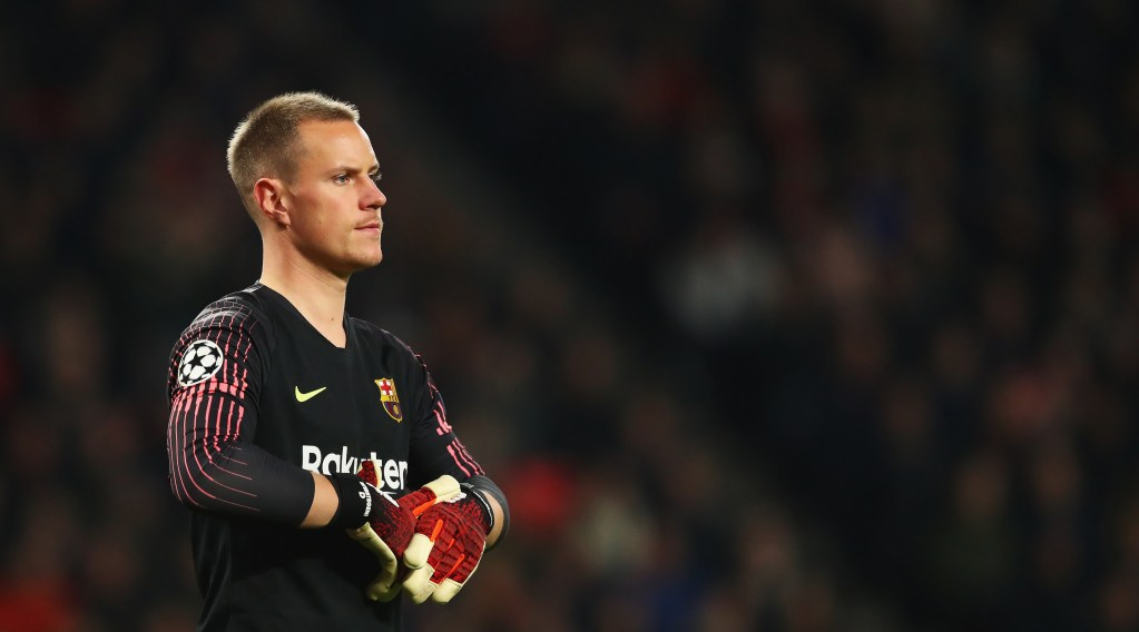 Goalkeeper, Marc-Andre ter Stegen of Barcelona looks on during the Group B match of the UEFA Champions League between PSV and FC Barcelona at Philips Stadion on November 28, 2018 in Eindhoven, Netherlands. (Photo by Dean Mouhtaropoulos/Getty Images)