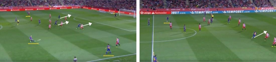 - Ante la defensa adelantada del Girona, los atacantes del Barça buscaron insistentemente el desmarque profundo. -