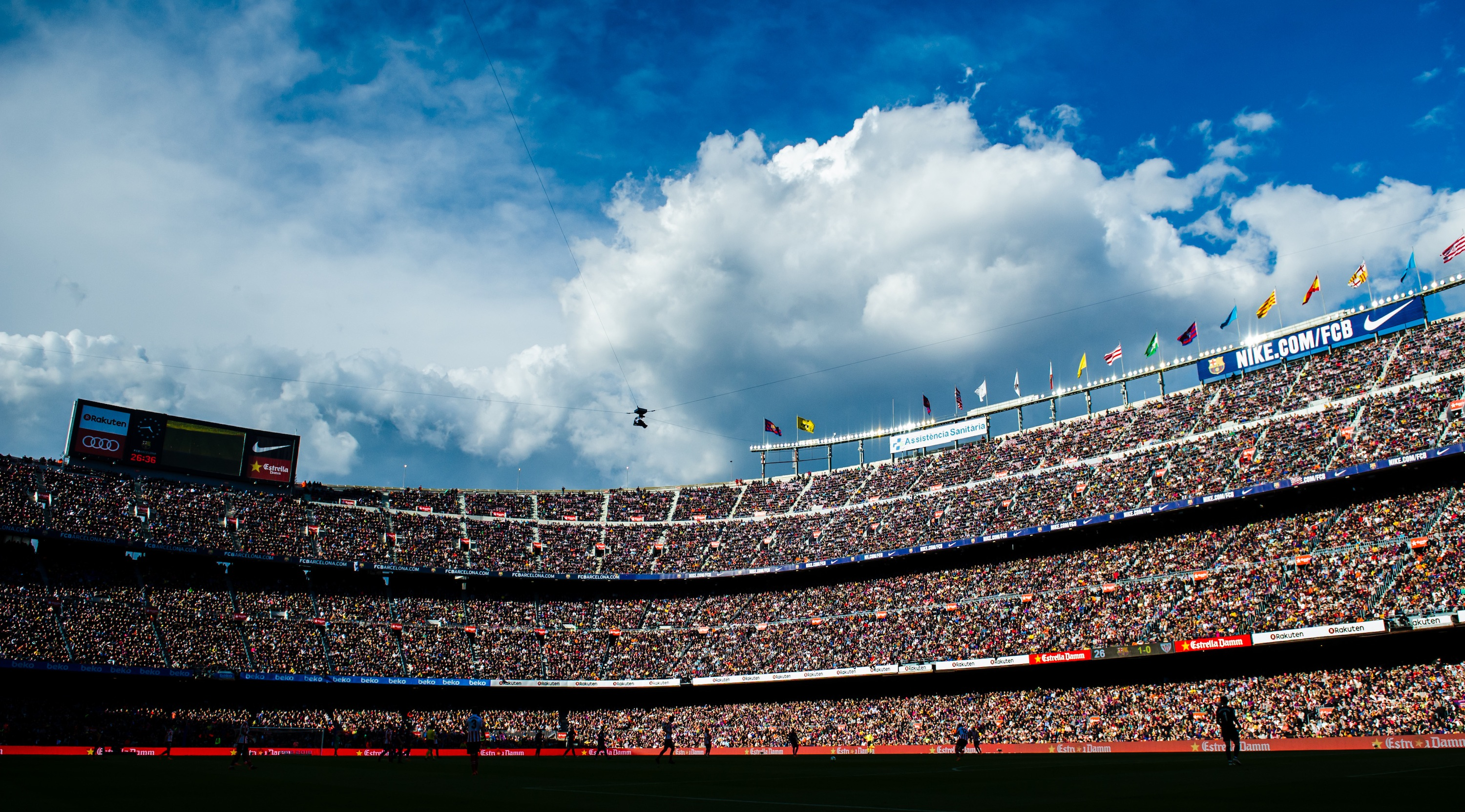 BARCELONA, SPAIN - MARCH 18: A view of the Camp Nou stadium during the La Liga match between Barcelona and Athletic Club at Camp Nou on March 18, 2018 in Barcelona, Spain. (Photo by Alex Caparros/Getty Images)