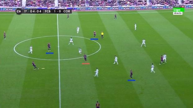 Messi recibiendo el pase de Piqué en zona del interior derecho.