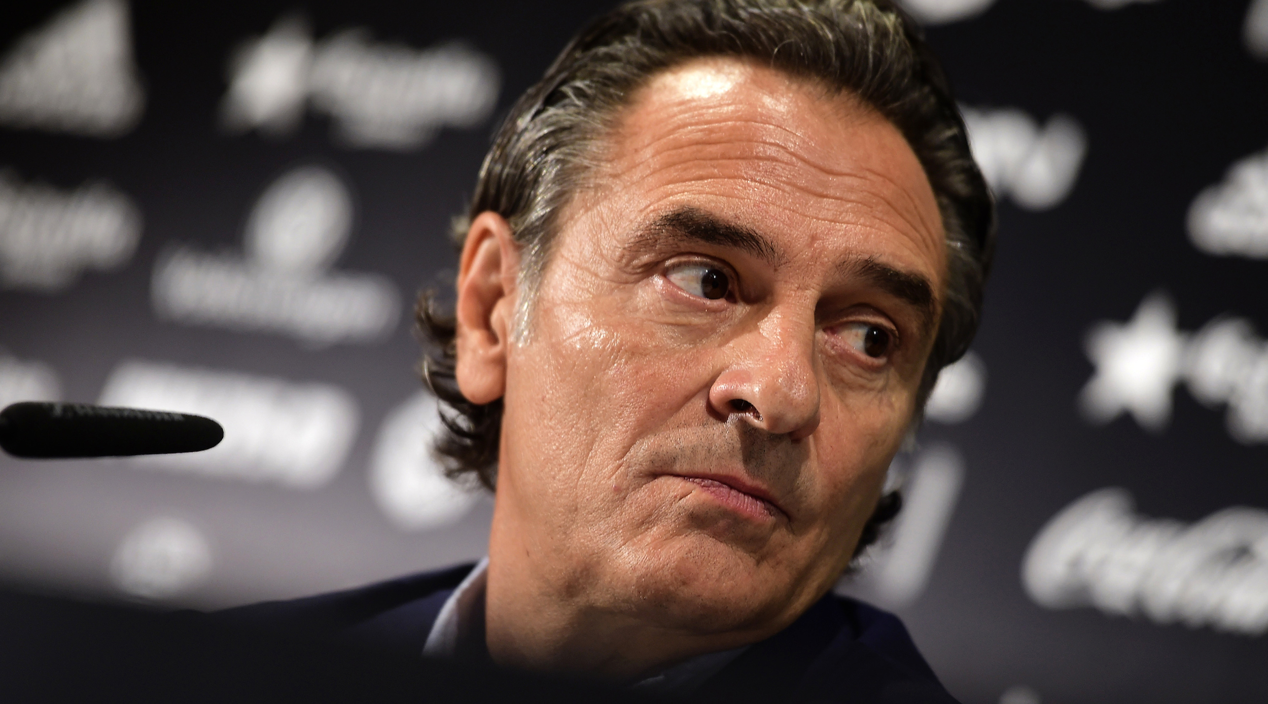 Valencia's Italian coach Cesare Prandelli looks on during his presentation to media at the Mestalla stadium in Valencia, on October 3, 2016. / AFP / JOSE JORDAN (Photo credit should read JOSE JORDAN/AFP/Getty Images)