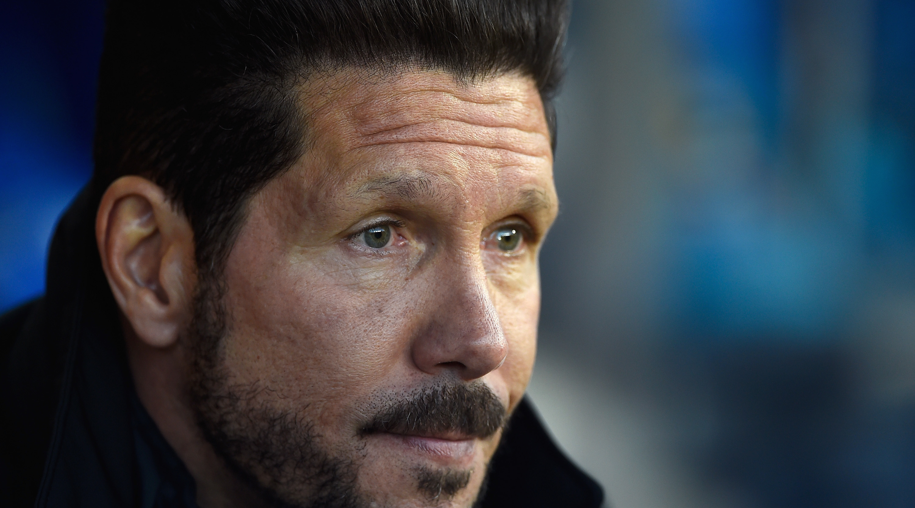 MADRID, SPAIN - APRIL 13: Atletico Madrid coach Diego Simeone looks on during the UEFA Champions League Quarter Final Second Leg between Club Atletico de Madrid and FC Barcelona at Vincente Calderon on April 13, 2016 in Madrid, Spain. (Photo by Mike Hewitt/Getty Images)