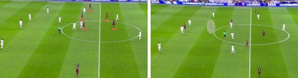La superioridad del Barça en mediocampo y la posición de Sergi Roberto a la espalda de los mediocentros del Real Madrid.